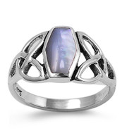 Wicca Triquetra Coffin Shaped Simulated Mother Of Pearl Stone Ring Sterling Silver 925