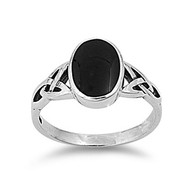 Wicca Weave Oval Simulated Onyx Stone Ring Sterling Silver 925