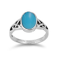 Wicca Weave Oval Simulated Turquoise Stone Ring Sterling Silver 925