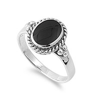 Rope Edges Oval Simulated Onyx Stone Ring Sterling Silver 925