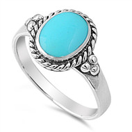 Rope Edges Oval Simulated Turquoise Stone Ring Sterling Silver 925