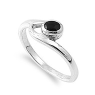 Staccato Round Simulated Onyx Stone Ring Sterling Silver 925
