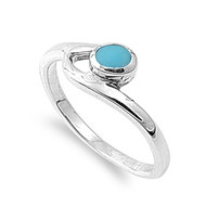 Staccato Round Simulated Turquoise Stone Ring Sterling Silver 925