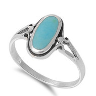 Elongated Oval Simulated Turquoise Stone Ring Sterling Silver 925