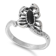 Sideway Scorpion Simulated Onyx Stone Ring Sterling Silver 925