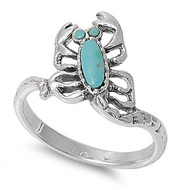 Sideway Scorpion Simulated Turquoise Stone Ring Sterling Silver 925