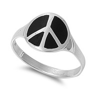 Peace Sign Simulated Onyx Stone Ring Sterling Silver 925