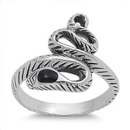 Medusa Simulated Onyx Stone Ring Sterling Silver 925