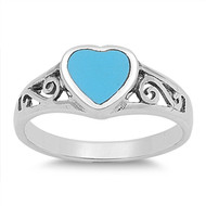Filigree Infinity Heart Simulated Turquoise Stone Ring Sterling Silver 925