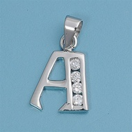 "Letter ""A to Z"" Classic Block Initial Cubic Zirconia Pendant Sterling Silver 12MM"