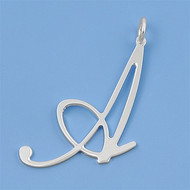"Italian Script ""A To Z""Initial Pendant Sterling Silver 20MM"