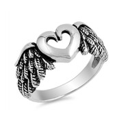 Angel's Heart & Wings Designer Ring Sterling Silver 925