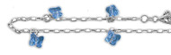 "Chain Anklet Blue Simulated Crystal Charm Sterling Silver 10"" Adjustable"