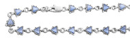 "Triangle Blue Cubic Zirconia Anklet 10"" Length Can Be Adjusted to Bracelet"