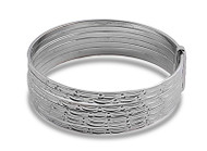 Diamond Cut Design 7-Day Bangle Bracelet Sterling Silver 15 X 55MM