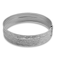 Diamond Cut Design 7-Day Bangle Bracelet Sterling Silver 60MM