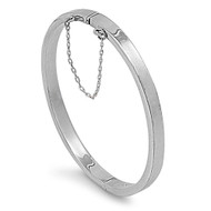 Rectangle tube 5MM Bangle Bracelet with Safety Chain 55 X 60MM Sterling Silver