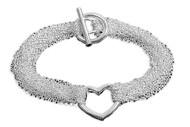 """Sterling Silver Mesh Style Chain Heart 8"""" Designer Charm Bracelet"""