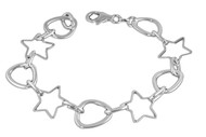 "Star & Circle Pattern 7"" Charm Bracelet Sterling Silver"