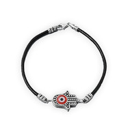 "Red Hamsa 7"" Charm Bracelet Sterling Silver"
