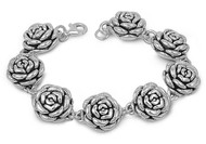 "Eternity Rose 8"" Charm Sterling Silver Designer Bracelet"