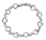 "Heart Links 8"" Charm Bracelet Sterling Silver"