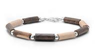 "Tribal Fusion Bead 7"" Charm Bracelet Sterling Silver"