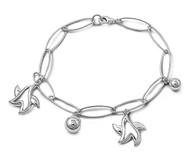 """Oblong Links Star & Sphere 7"""" Charm Bracelet Sterling Silver"""