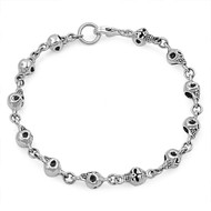 "Skull Links 7"" Charm Bracelet Sterling Silver"