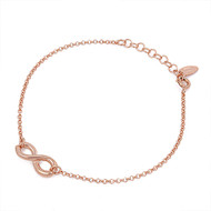 "Rose Gold- Tone Plated Infinity 7"" + 1 Extension Charm Bracelet Sterling Silver"