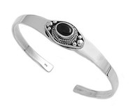 Sterling Silver Simulated Onyx Fashion Bangle 13MM