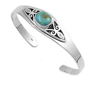 Sterling Silver Simulated Turquoise Fashion Bangle 16MM