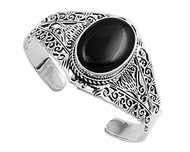 35MM Black Simulated Onyx Designer Filigree Bangle In Sterling Silver