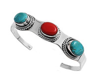 Simulated Turquoise & Simulated Coral Fashion Bangle Sterling Silver