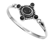Sterling Silver Simulated Onyx Fashion Bangle 24MM