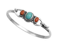 Sterling Silver Simulated Turquoise & Simulated Carnelian Fashion Bangle 13MM
