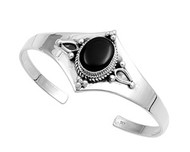 Sterling Silver Simulated Onyx Stone Plain Bangle 28MM