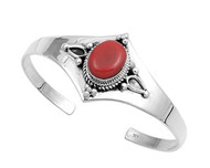 8MM Sterling Silver Simulated Coral Designer Bangle Jewelry