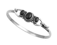 Sterling Silver Simulated Onyx Stone Bangle 14MM