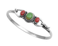Sterling Silver Simulated Turquoise & Simulated Carnelian Stone Bangle 14MM