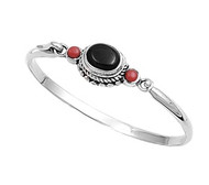Simulated Onyx Sided By Simulated Carnelian Bangle Sterling Silver 14MM