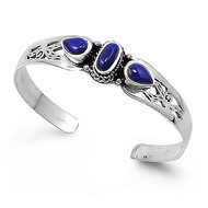 Sterling Silver Purple Stones 13MM Bangle