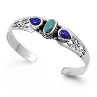 Sterling Silver Simulated Turquoise Stone 13MM Bangle