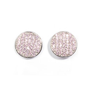 Pink Cubic Zirconia Pave Disk Design Earrings Sterling Silver 14MM