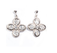 Cubic Zirconia Flower Earrings Sterling Silver 25MM