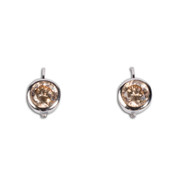 Champagne Round Cubic Zirconia Earrings Sterling Silver 16MM