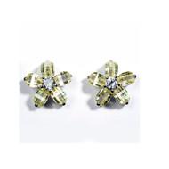 Cubic Zirconia Flower Earrings Sterling Silver 17MM