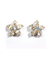Champagne Cubic Zirconia Flower Earrings Sterling Silver 17MM