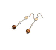 Clear Cubic Zirconia & Simulated Amber Fish Hook Earrings Sterling Silver 48MM