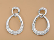 Clear Cubic Zirconia Round Fashion Earrings Sterling Silver 30MM